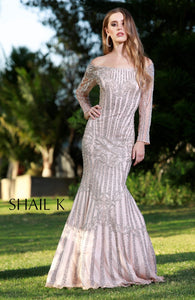 Completely Embellished Long Sleeve Mermaid Style Prom Dress 12108