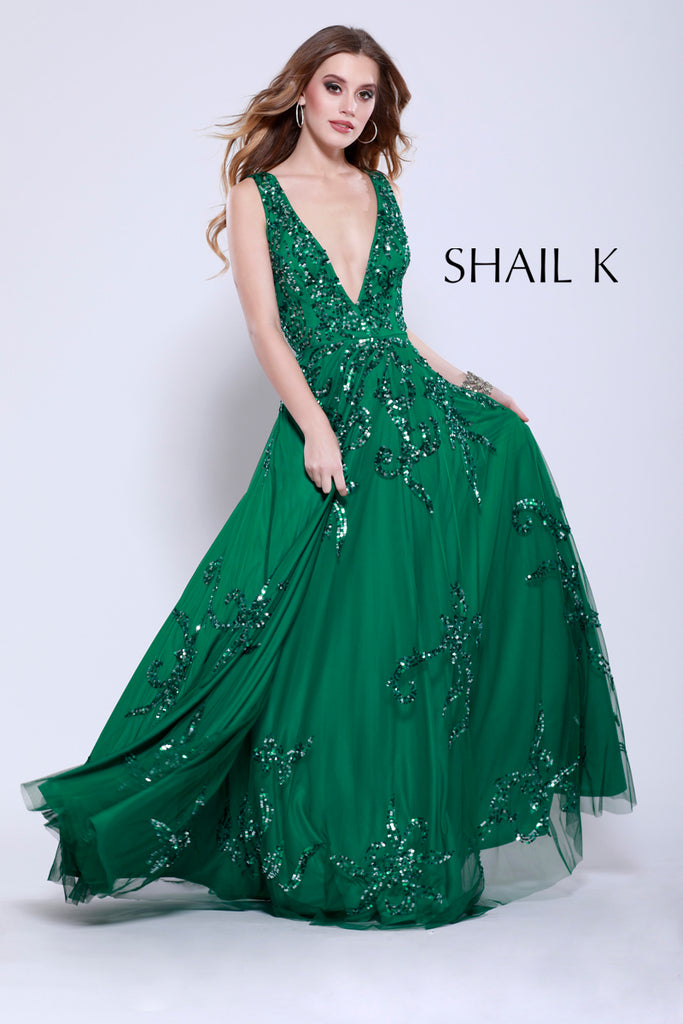 Plunging Neckline Fit To Flare Prom Dress 12110 Emerald, Jewel Green ...