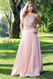 Two Piece Embellished Rose Flowy Prom Dress 12111