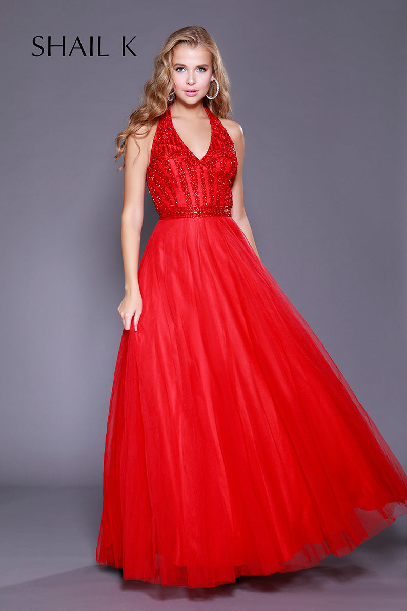 Halter Style Embellished Fit To Flare Red Prom Dress 12113