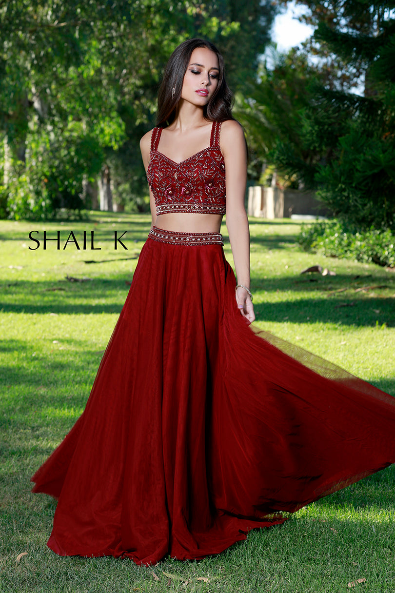 Two Piece Sequin Bodice Burgundy Flowy Prom Dress 12117