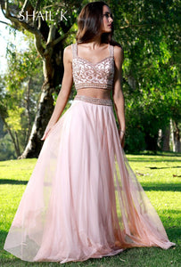 Two Piece Sequin Bodice Rose Flowy Prom Dress 12117