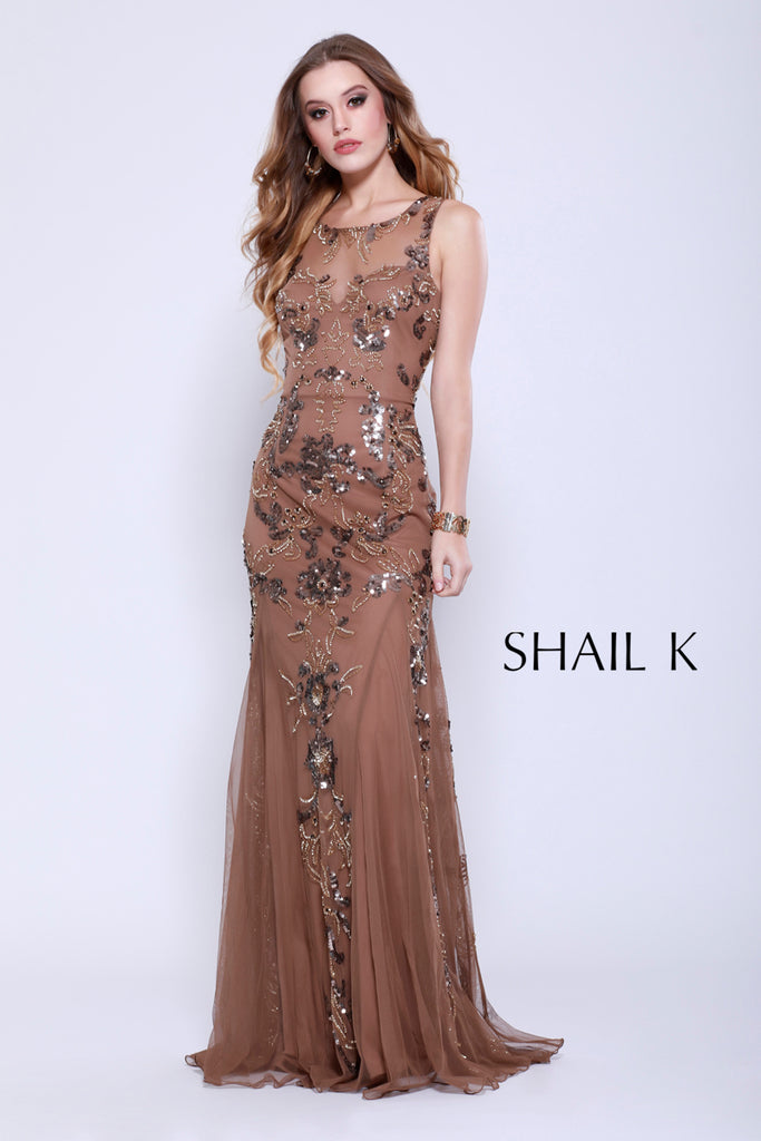 Sheer Neck Sheer Illusion Mocha Razor Back Prom Dress 12120 – Shail ...