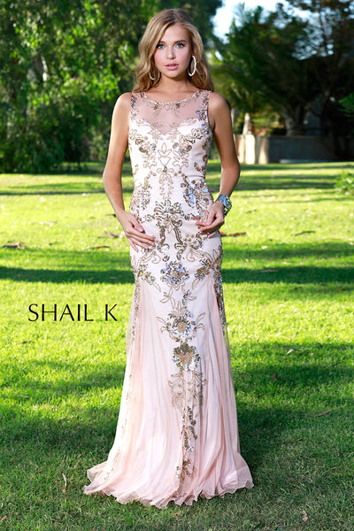 High Neck Sheer Illusion Rose Razor Back Prom Dress 12120