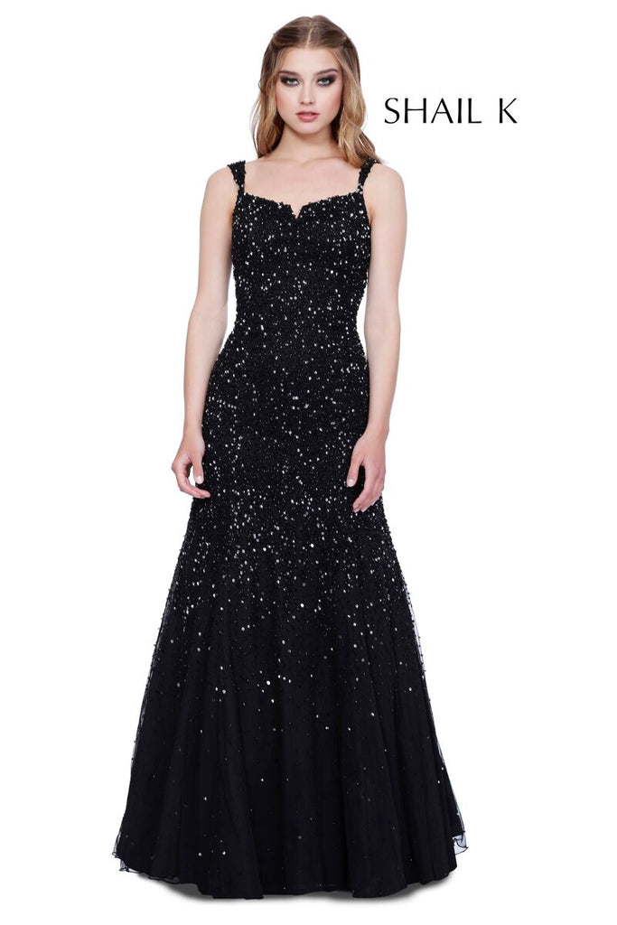 6d813f7a753e ... Thin Strap Low Back Navy Mermaid Style Sequin Prom Dress 12123 ...