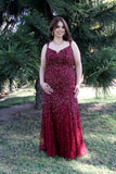 Thin Strap Low Back Mermaid Style Sequin Burgundy Plus Size Prom Dress 12123W