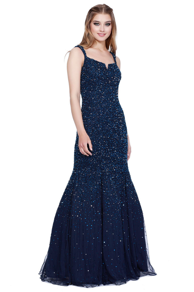 dac7115d91d6 ... Thin Strap Low Back Ivory Mermaid Style Sequin Prom Dress 12123 ...