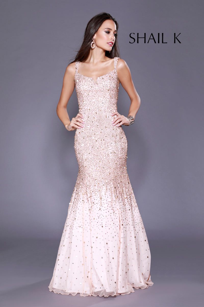 Thin Strap Low Back Mermaid Style Sequin Rose Prom Dress 12123