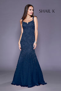 Thin Strap Low Back Navy Mermaid Style Sequin  Prom Dress 12123