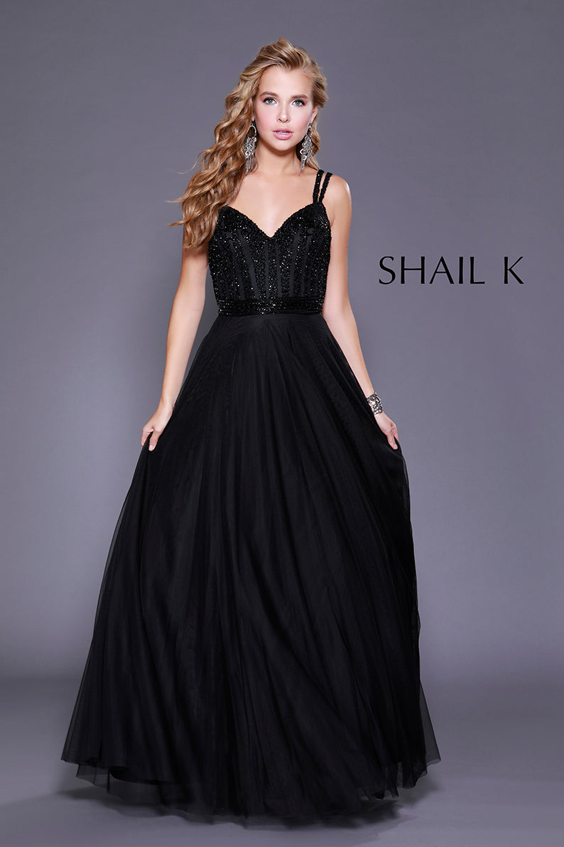 Double Strap Embellished Bodice Flowy Black Prom Dress 12125
