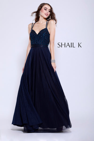 Double Strap Embellished Bodice Flowy Dress 12125