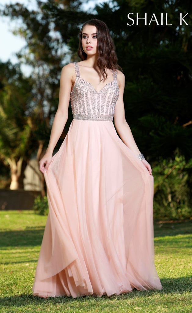 Double Strap Embellished Bodice Flowy Rose Prom Dress 12125 – Shail ...
