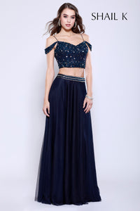 Two Piece Sequin Bodice Navy Flowy Prom Dress 12126