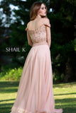 Two Piece Sequin Bodice Rose Flowy Prom Dress 12126