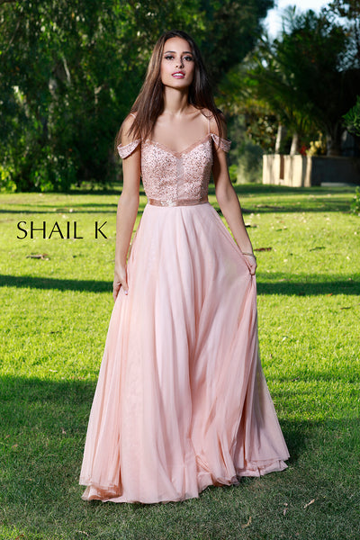 Off The Shoulder Sheer Illusion Fit To Flare Rose Prom Dress 12128