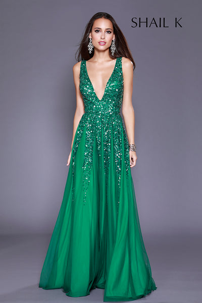 Plunging Neckline Low Back Jewel Green Sequin Dress Prom Dress 12134