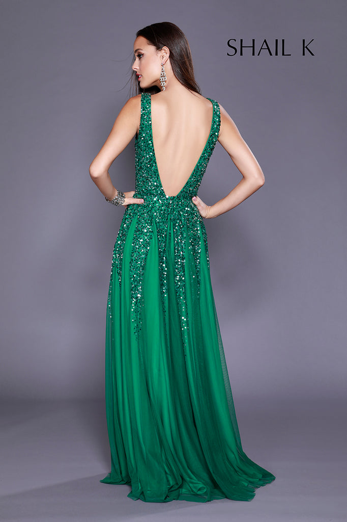 Plunging Neckline Low Back Tiffany Sequin Prom Dress 12134 – Shail K ...