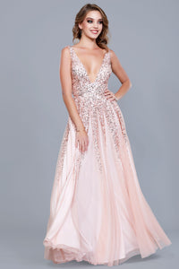 Plunging Neckline Low Back Sequin Emerald Dress Rose Gold Dress 12134