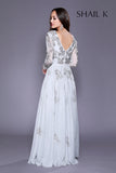 Long Sleeve Plunging Neckline Embellished Fit To Flare Silver Prom Dress 12142
