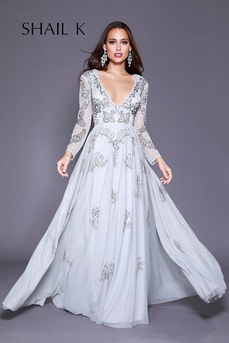 Long Sleeve Plunging Neckline Embellished Fit To Flare Silver Dress 12142