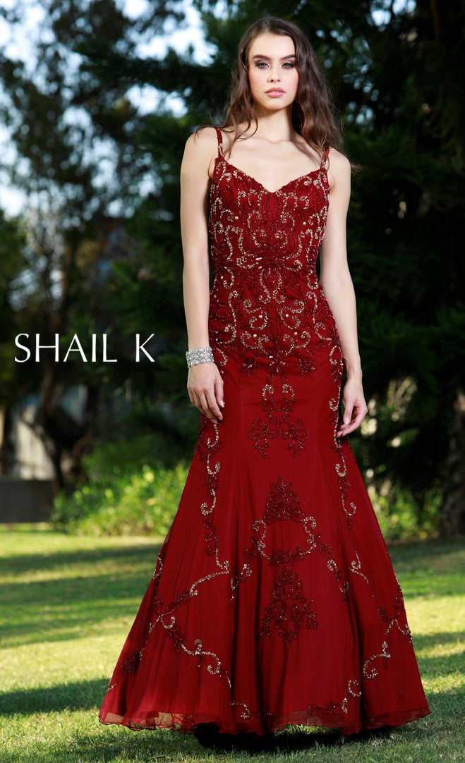 Spaghetti Strap Low Back Embellished Evening Gown 12146