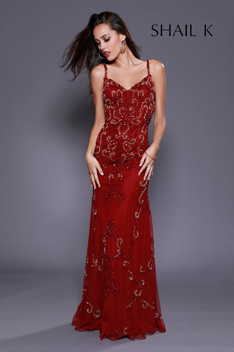 Spaghetti Strap Low Back Embellished Burgundy Prom Dress 12146
