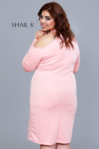 Long Sleeve Straight Cut Plus Size Cocktail Dress 121516