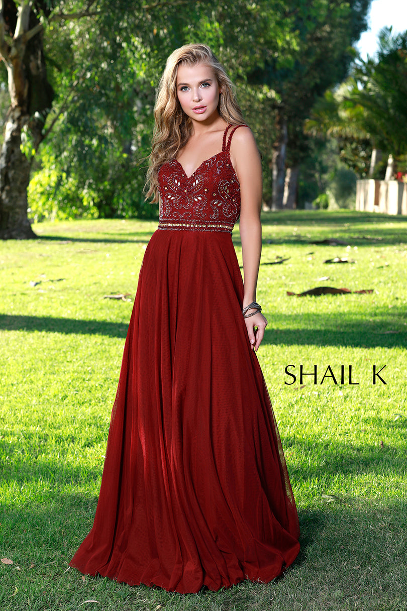 Double Strap Cross Back Fit To Flare Burgundy Prom Dress 12158