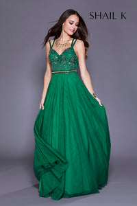 Double Strap Cross Back Fit To Flare Emerald Prom Dress 12158