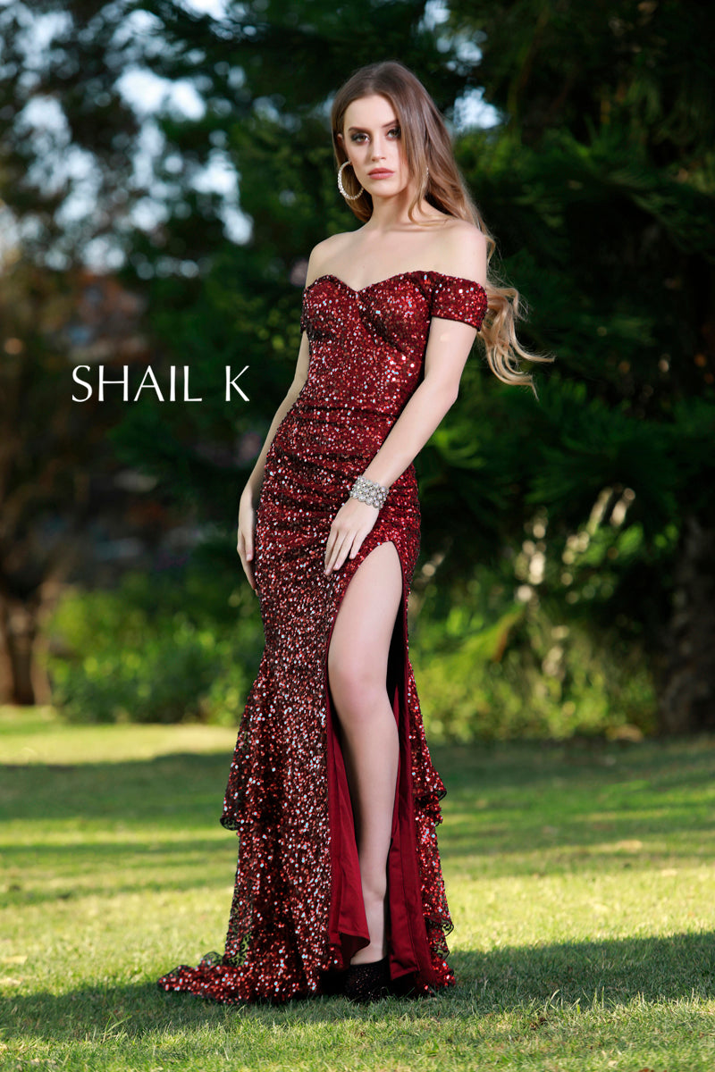 Off The Shoulder Fully Sequin Glamorous Burgindy Prom Dress 12160