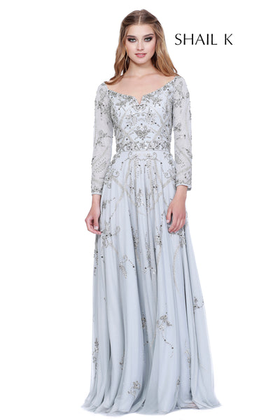 Long Sleeve Embellished Fit To Flare Mother Of The Bride Dress 12164