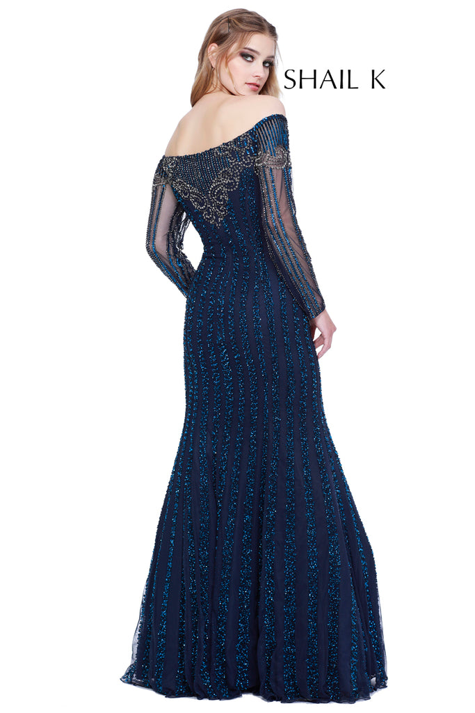Long Sleeve Embellished Mermaid Style Red Carpet Evening Gown 12165 ...