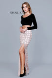 Embellished Sheer Illusion Skirt With Slit Featured On The Voice 12169
