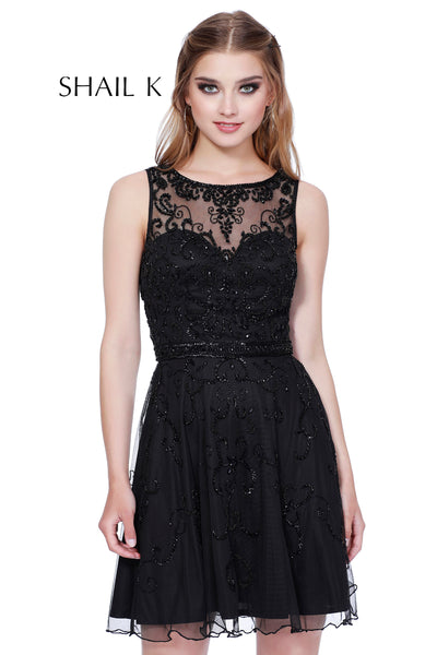 Sheer Illusion Embellished A-Line Homecoming Dress 12181