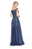 Off The Shoulder fit to Flare Sequin Rose Gold Prom Dress With Slit 12202