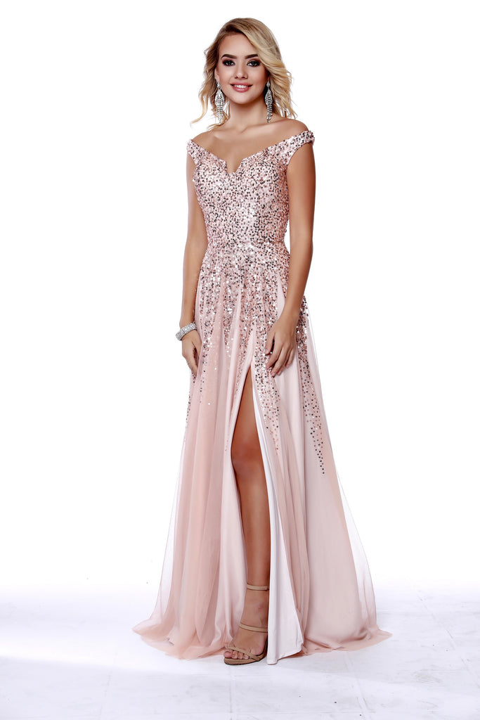 c494f921a9b Off The Shoulder fit to Flare Sequin Rose Gold Prom Dress With Slit 12202  ...