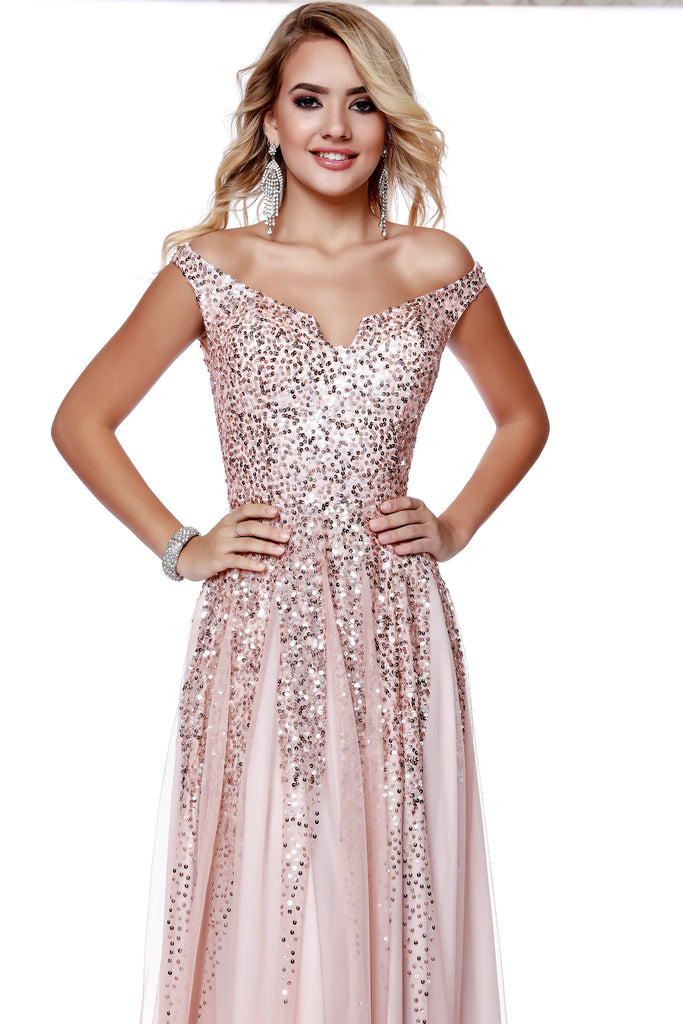 e6a4e968ba5 ... Off The Shoulder fit to Flare Sequin Rose Gold Prom Dress With Slit  12202 ...