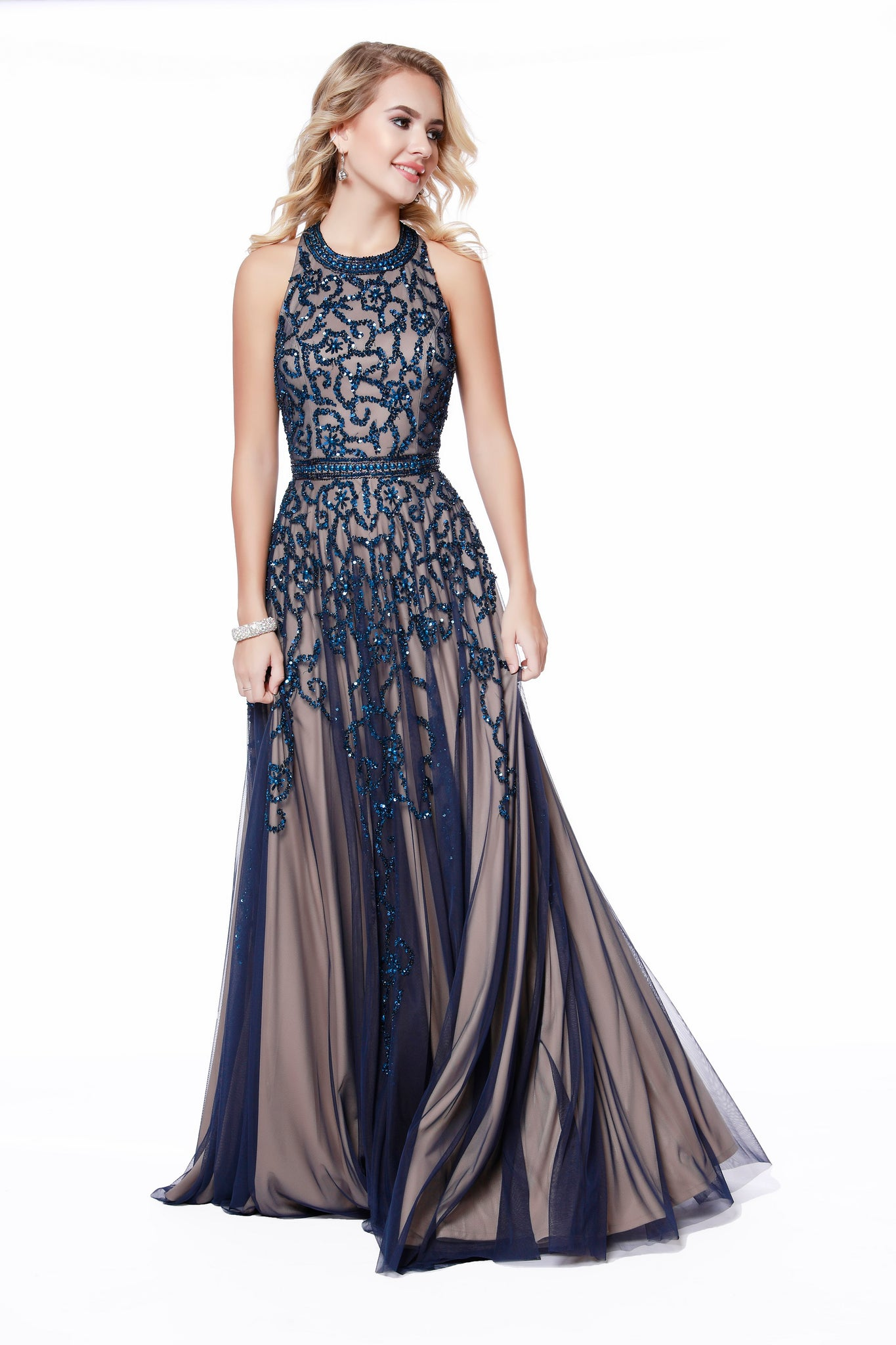 High Neck Embellished Belted Navy Fit to Flare Prom Dress 12205