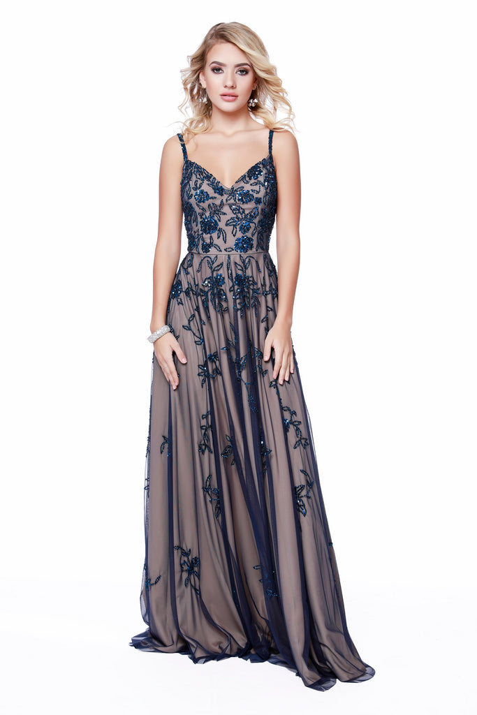 Thin Strapped V Neck Fit To Flare Navy Completely Embellished Prom