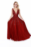 Low V-Neck Fit to Flare Sequin Prom Dress 12207