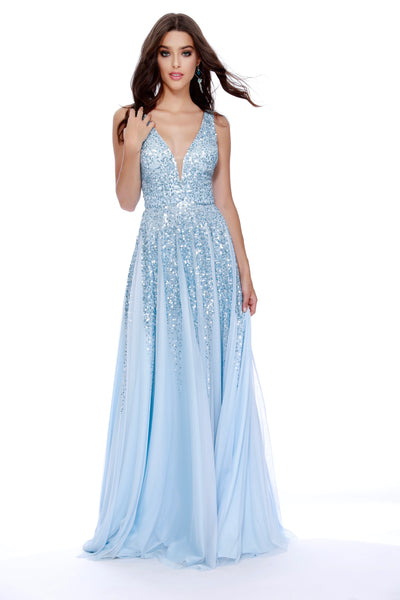 Low V-Neck Fit to Flare Sequin Navy Prom Dress 12207