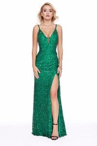 This Strapped V-Neck Sequin Body Hugging Emerald Prom Dress With Slit 12223