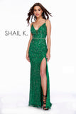This Strapped V-Neck Embellished Belted Body Hugging Emerald Prom Dress With Slit 12224