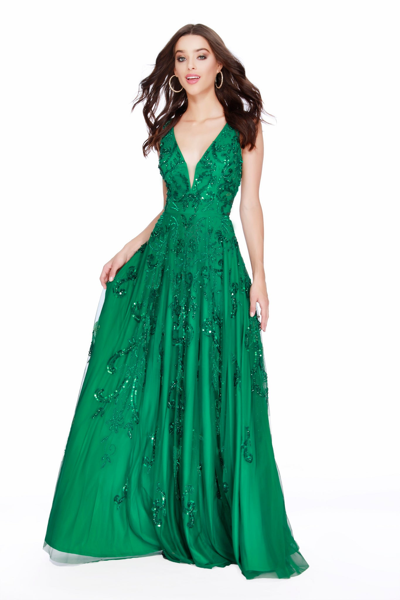 Low V- Neck Completely Embellished Fit to Flare Emerald Prom Dress 12227