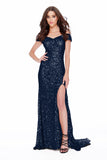 Off The shoulder Body Hugging Sequin Red Carpet Style Prom Dress 12229