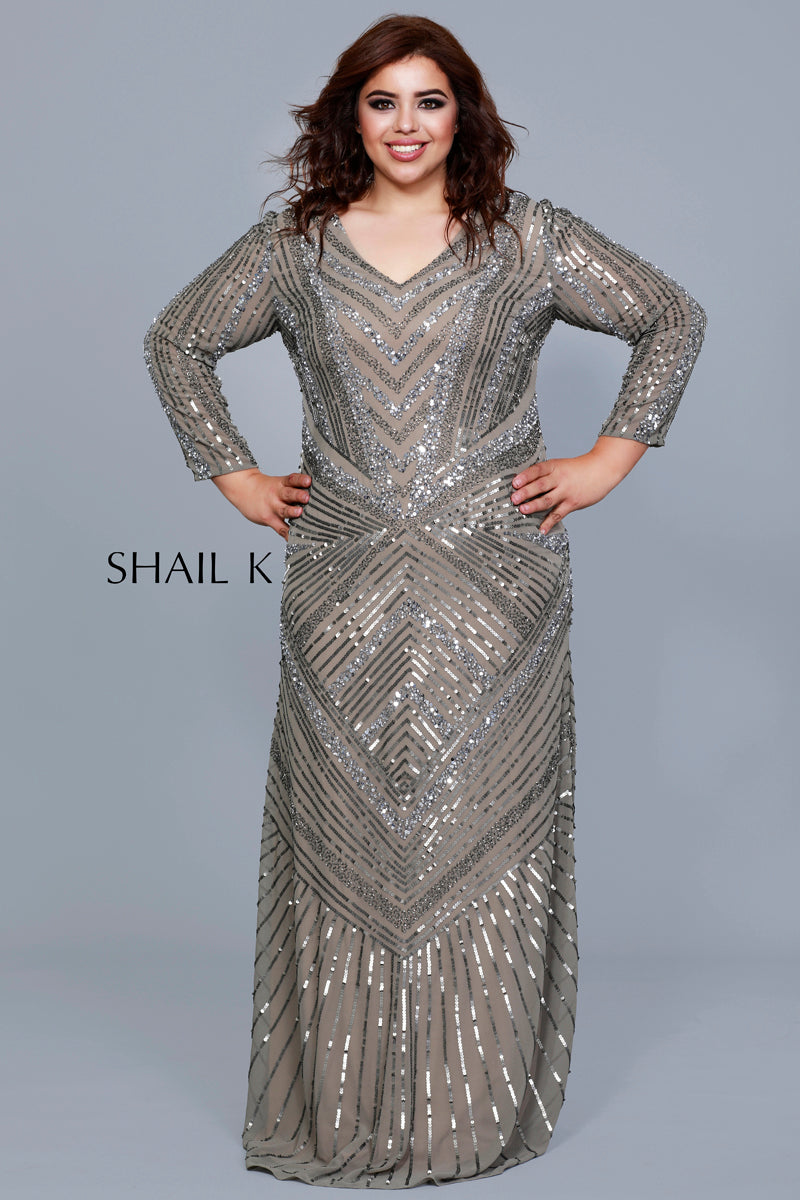 V-Neck Long Sleeve Embellished Plus Size Lead A-Line Dress 1276W