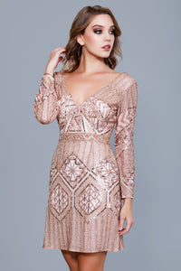 Long Sleeve V-Neck Embellished Red Carpet Cocktail Dress 12167