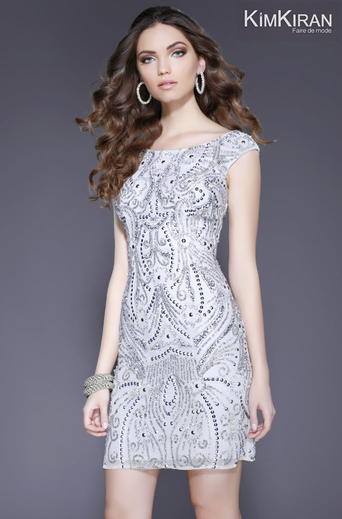 3cffe6c279b Shail K. USA Style 3234 SILVER View  2  Shail K. USA Style 3234 SILVER View   1  Scoop Neck Body Hugging Embellished Cocktail Dress ...