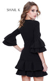 High Neck Three Quarter Sleeve Short Ruffled Skirt Dress  31700