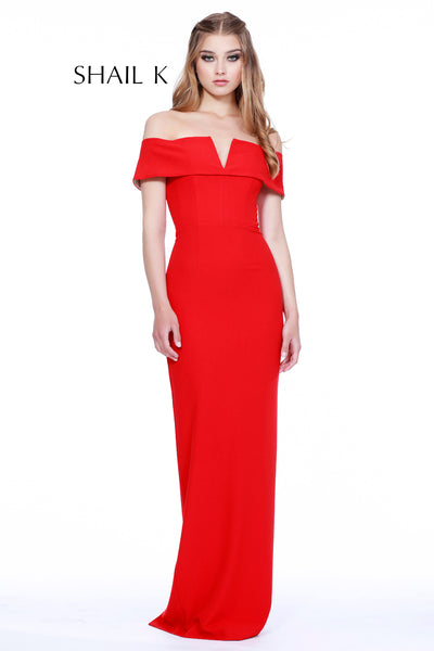 Off The Shoulder Body Hugging Straight Back Slit Dress 31915L